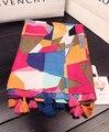 Bufanda de marca de lujo de las mujeres 2016, Geometría bufanda de la impresión, algodón, rayón, bufanda, pañuelo, las mujeres capa, musulmán hijab, wrap, chales y bufandas