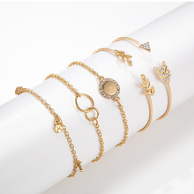 2019 new European and American personality fashion bracelet arrow leaf alloy 5 pieces each suit wedding Christmas gift