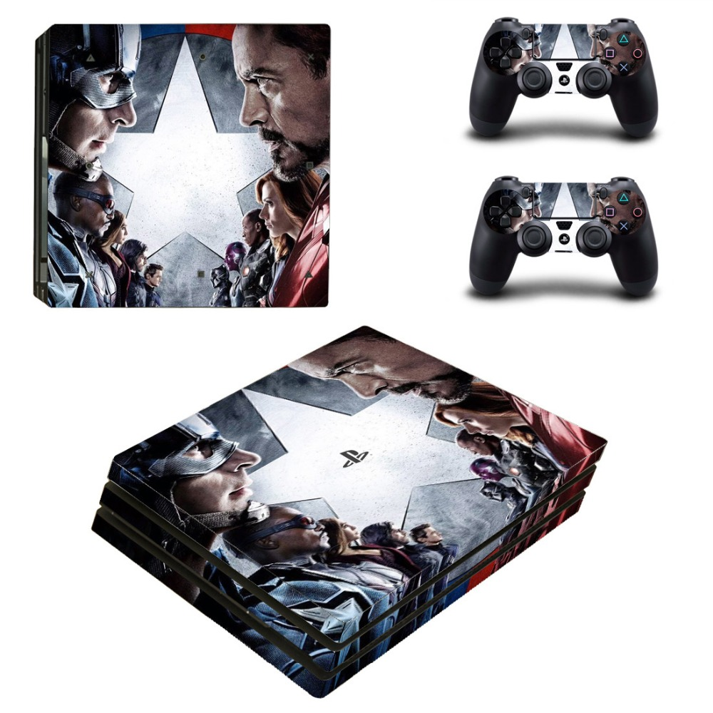 PS4 Pro Skin Sticker Cover For Sony Playstation 4 Pro Console and Two Controllers Skins - Marvels The Avengers