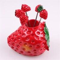 חמה למכירה מושב תות פירות מזלג מטבח יצירתי בנטו פיקניק garfo מסיבת חוות סט סכו