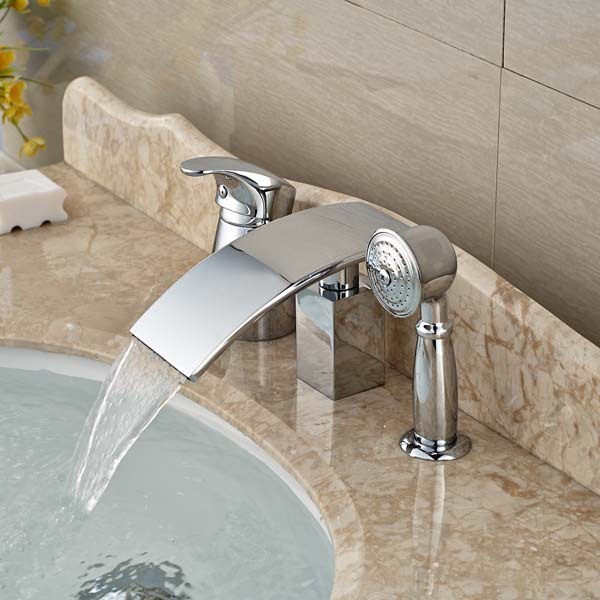 deck mount tub faucet with diverter. Aquafaucet Waterfall Wall Mount Sheet Flow Non Diverter Bath Spout Tub Faucet With  Best 2017