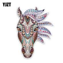 YJZT 10.5см14.4см мультяшная лошадь цветная ПВХ Высококачественная Автомобильная наклейка украшение графическое C1-5013