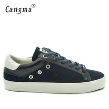 CANGMA British Style Men Shoes Navy Blue Genuine Leather Sneakers Suede Shoes  Man Casual Mens Footwear Old Skoo Shoes Male 64ecf8b0dba8