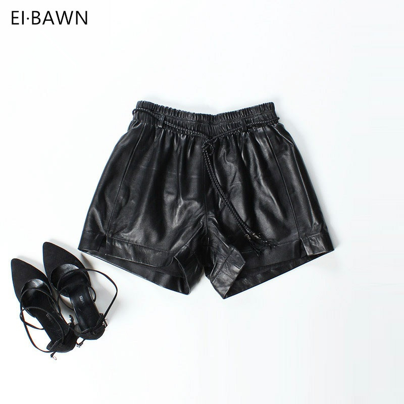 2018 New Arrival Shorts Women Black Real Genuine Leather Ladies Loose High Waist Sexy Shorts Korean Style fashion Streetwear