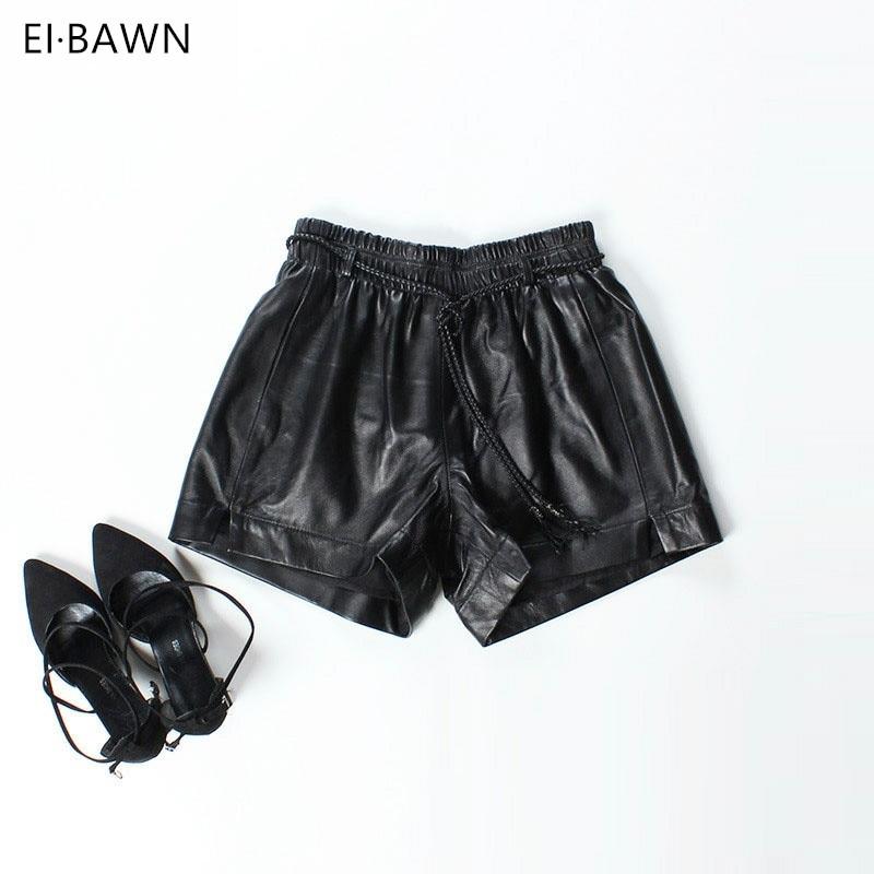 2018 nueva llegada pantalones cortos de las mujeres negro cuero genuino Real sueltas damas de alta cintura Sexy estilo coreano pantalones cortos moda Streetwear