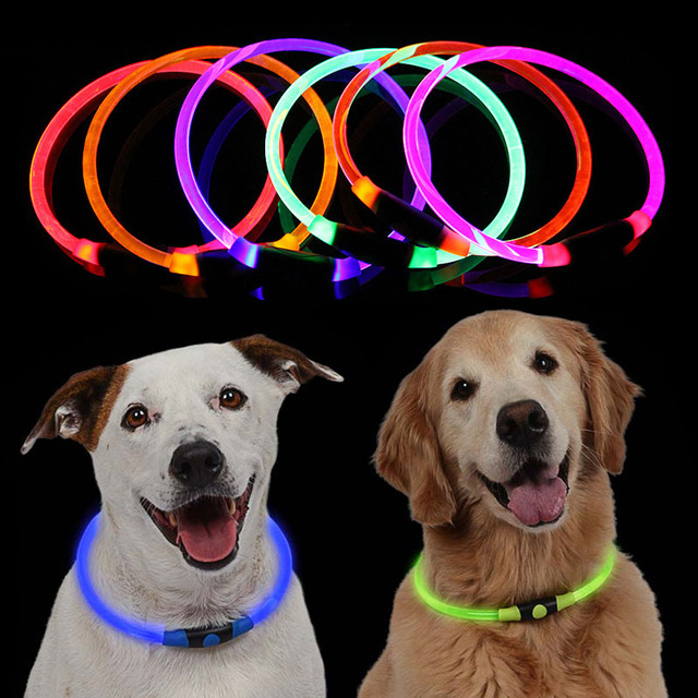 High Quality 1pcs LED Dog Collar Light Up Glowing Puppy Night Safety Pet Collars for Small Medium Large Dogs VC