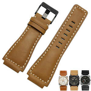 Image 4 - 33*24mm Convex End Italian Calfskin Leather Watch Band For Bell Series BR01 BR03 Strap Watchband Bracelet Belt Ross Rubber Man