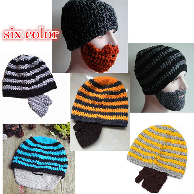 23beae3b076 New 2014 Handmade Knitted Crochet Beard Hat Bicycle Mask Ski Cap roman  knight octopus Cool Funny beanies Gift Free Shipping