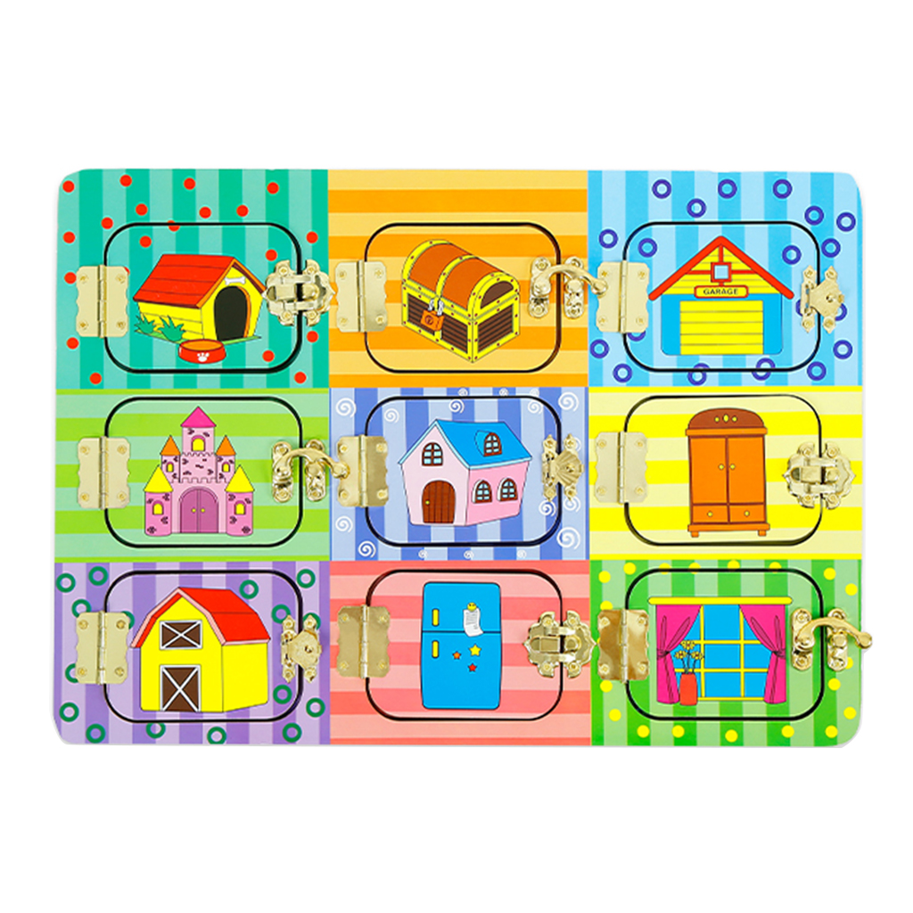 Wooden Exploring Locks & Latches Mysterious Door Board Game Puzzle Educational Kid Montessori Toy
