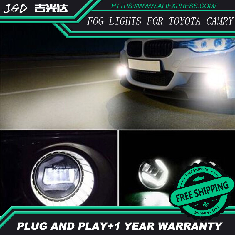 Free Shipping For Toyota Camry 2006-2012 LR2 2006-2014 Car styling front bumper LED fog Lights high brightness fog lamps 1set car bifocal fog lens for honda cr v accord taiwan product front bumper lights high quality free shipping