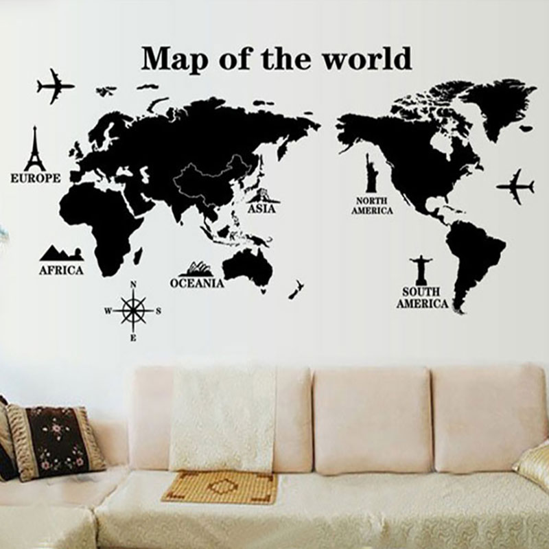 Creative Home Decor Plane Wall Sticker Modern Map of the World Style     Creative Home Decor Plane Wall Sticker Modern Map of the World Style For  Living Room TV Wall Large Size 60 90 CM Mural Art Decal in Wall Stickers  from Home