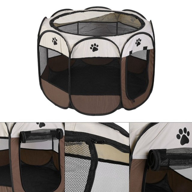 Portable Outdoor Detachable Folded Folding Waterproof Octagonal Pet Dog Cat Kennel Puppy Fence Oxford Tents Cage NEW 3