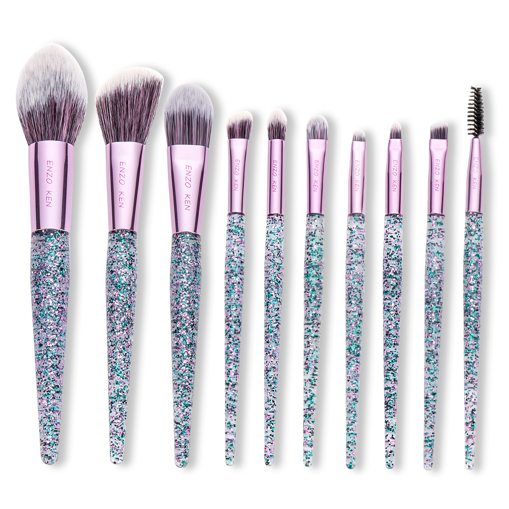 Purple Makeup Brushes ENZO KEN (Drop Shipping) 10Pcs Foundation Blush Brush Powder Blending Eyeshadow Make up Brushes Set 2