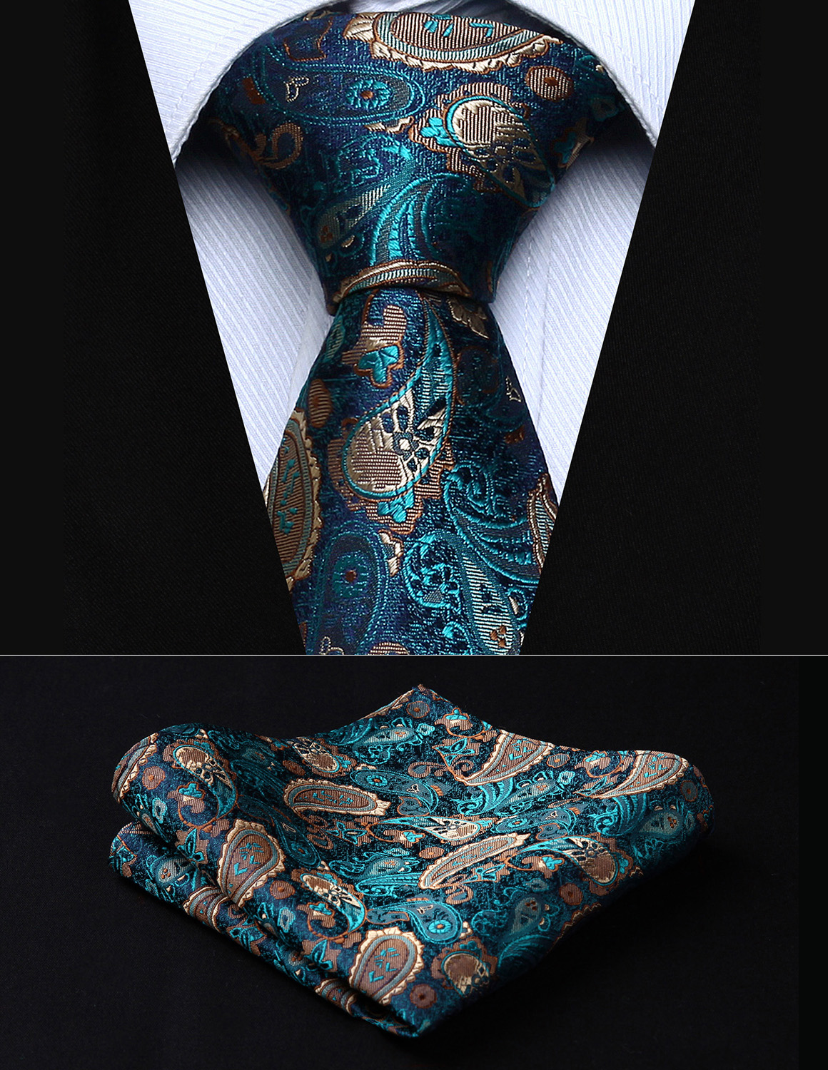 "Party Wedding Classic Pocket Square Tie TP711Q8S Green Brown Paisley 3.4"" Silk Woven Men Tie Necktie Handkerchief Set"