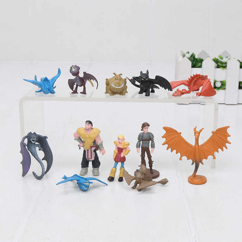 4-7 cm 12 pçs/set How to Train Your Dragon Hideous Zippleback 3 Figura Toy Hiccup Desdentado Fúria Da Noite monstruoso Figura PVC Brinquedos