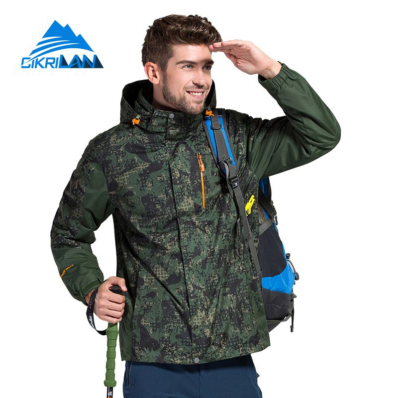 New Camo Winter Sports Hiking 2in1 Outdoor Jacket Men Camping Skiing Windstopper Waterproof Coat Fleece Inner Chaqueta Hombre