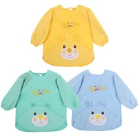 3 PCS Cute Unisex Infant Toddler Baby Waterproof Cartoon Printed Kids Long Sleeved Bib Cotton Children