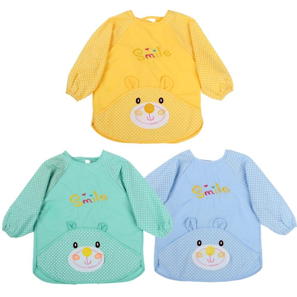 Plain white apron toronto - 3 Pcs Cute Unisex Infant Toddler Baby Waterproof Cartoon Printed Kids Long Sleeved Bib Cotton Children