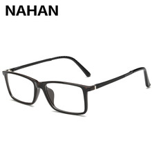 635986725 2018 Titânio Puro Armação de óculos TR90 NAHAN Praça de Plástico Armações  de Óculos Armações de Óculos de Olho para Homens Cor E..