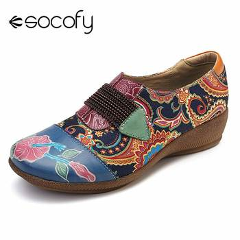 SOCOFY Folkways Flats Flowers Pattern Genuine Leather Splicing Jacquard Elastic Band Slip On Flat Shoes Women Shoes Summer