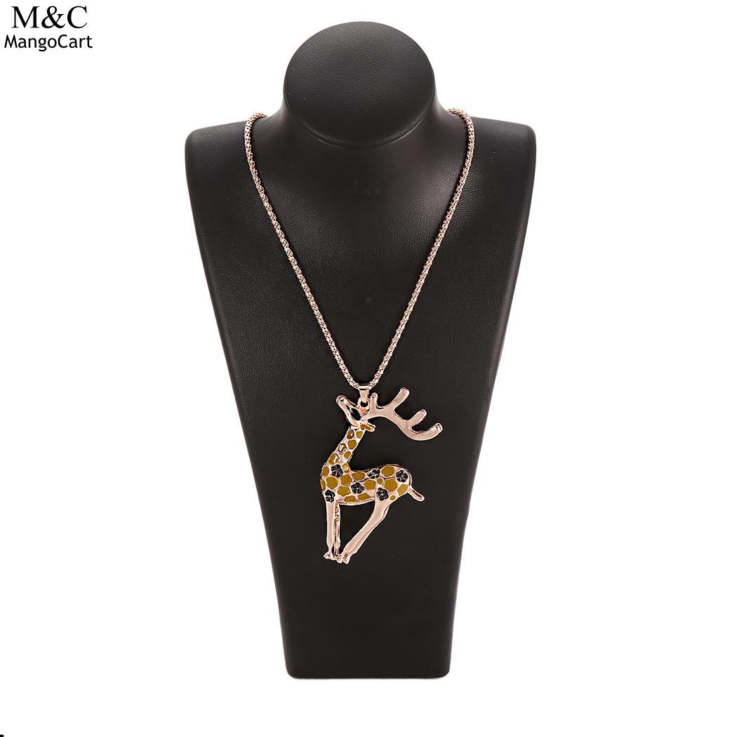 Long Fashion Christmas Reindeer Pendent Necklace Sweater Women Chain