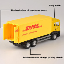 1:64 Scale Express DHL Truck Model Yellow Container Transporter Diecast Truck Kids Toys Collection Gift cat caterpillar ct660 dump truck yellow 1 50 model by diecast masters 85290
