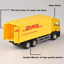 1:64 skala Express DHL Lkw Modell Gelb Container Transporter Diecast Lkw Kinder Spielzeug Sammlung Geschenk