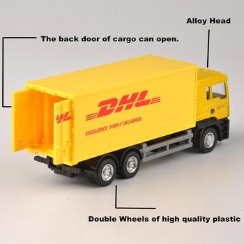 1 64 skala Express DHL model ciężarówki żółty Transporter kontenerów Diecast Truck kolekcja zabawek dziecięcych prezent