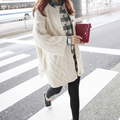 Autumn diamond twist knit cardigan sweater female Korean long size coat loose autumn tide