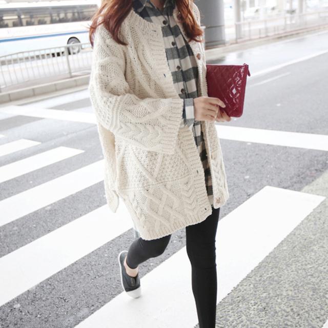 Diamante otoño giro chaqueta de punto suéter femenino de Corea Del tamaño de la capa larga floja marea otoño