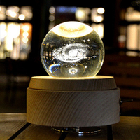 Wooden Music Box Moon Style Luminous Rotating 3D Crystal Night Light Musical Box Kids Girls Elk Crystal Ball Music Box RYT Shop