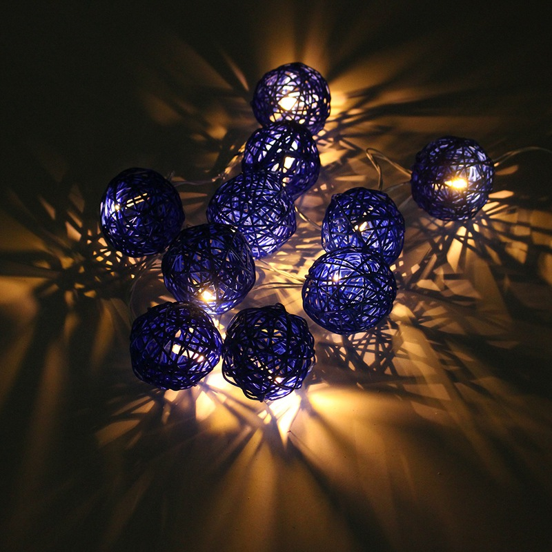 Waterproof IP44 1.8m 10 Rattans Wicker Balls LED String Lights Fairy Led Outdoor Light Wedding Party Decor EU Plug AC220V