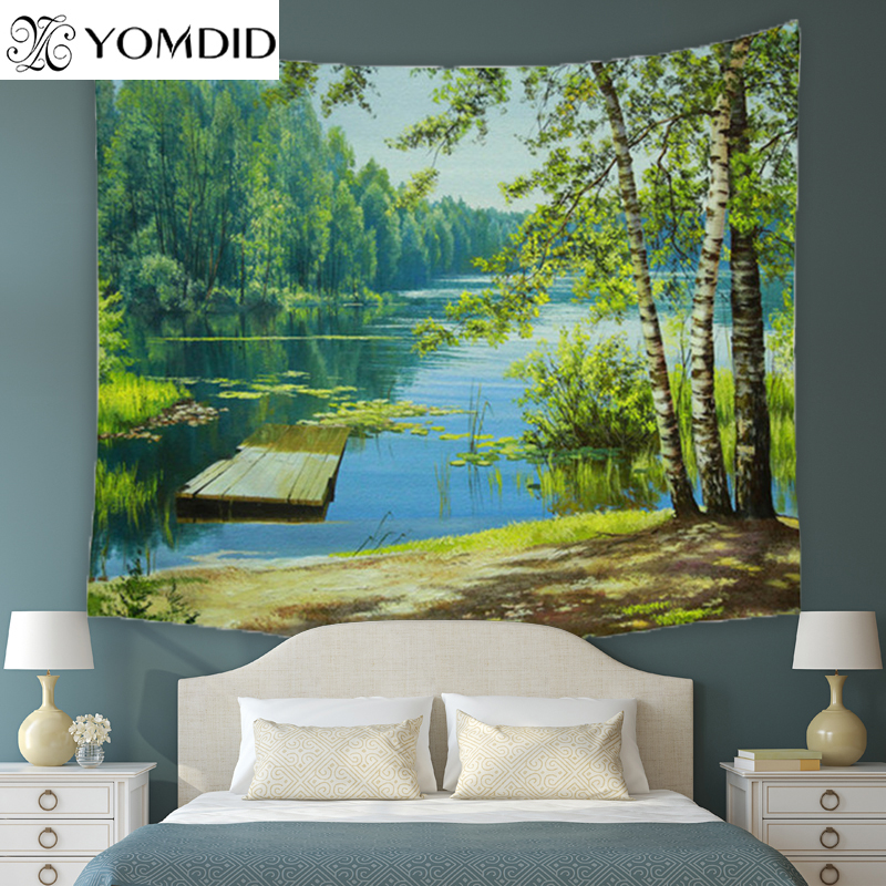 Tapicería del bosque río tapices de pared tiro colcha manta alfombra dormitorio decoración Yoga Mat Picnic Toalla de playa