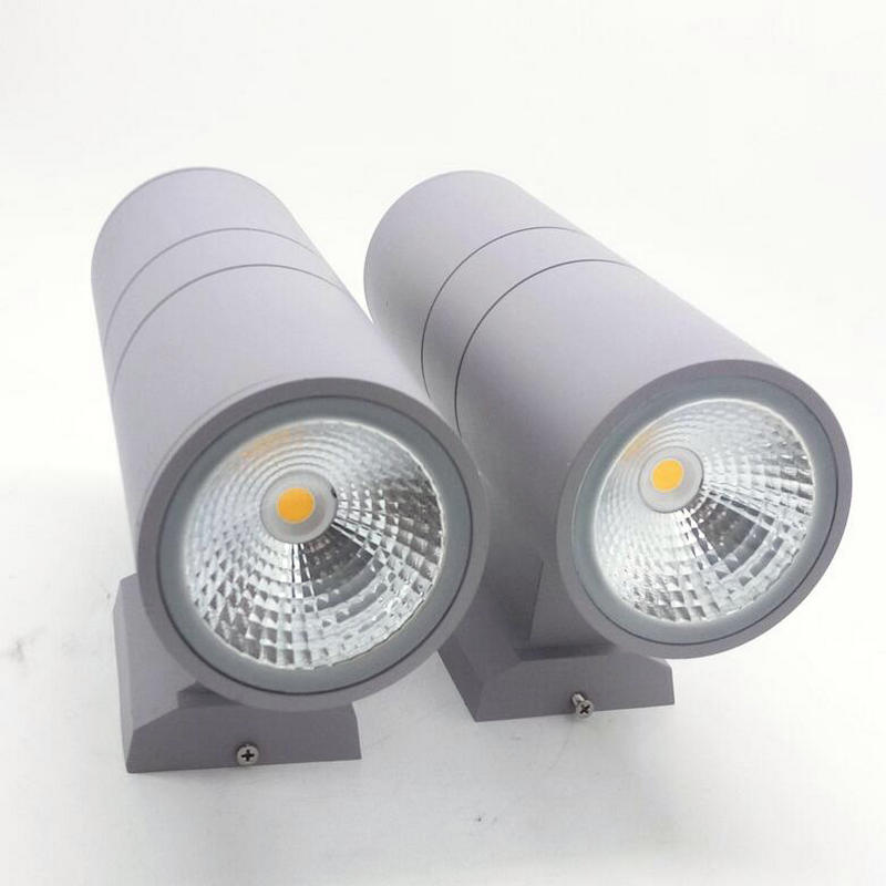 Wholesale Retail Aluminum Black/Gray shell 10W 20W 30W double COB LED Outdoor lighting LED Wall lamps Warm/cool white AC85V-240V free shipping double head 20w 2 10w warm white cold white cob dimmable led down light ac90 240v ce certificate