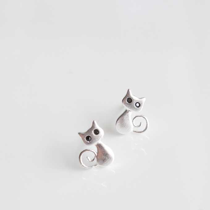 925 Sterling Silver Anime Stud Earrings For Women Cute Cat Earings Sterling-silver-jewelry boucle d'oreille VES6050