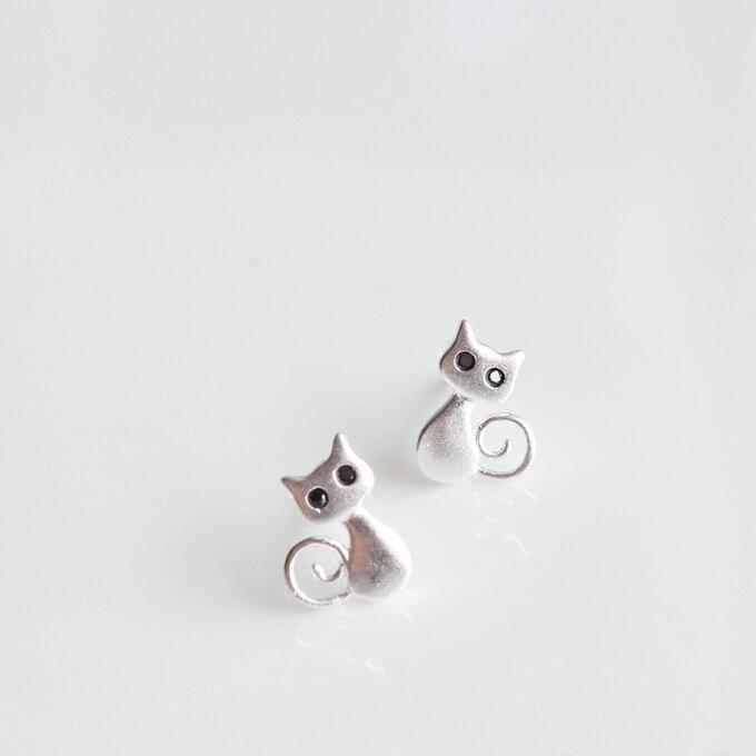 925 Sterling Silber Anime Stud Ohrringe Für Frauen Nette Katze Ohrringe Sterling-silber-schmuck boucle d'oreille VES6050
