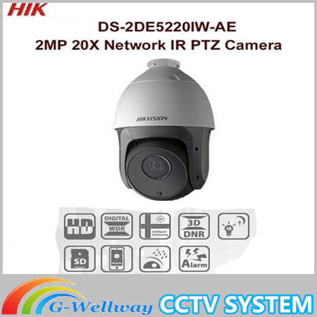 DHL Free shipping english version DS-2DE5220IW-AE 2MP 20X Network IR PTZ Dome Camera hikvision ds 2de7230iw ae english version 2mp 1080p ip camera ptz camera 4 3mm 129mm 30x zoom support ezviz ip66 outdoor poe