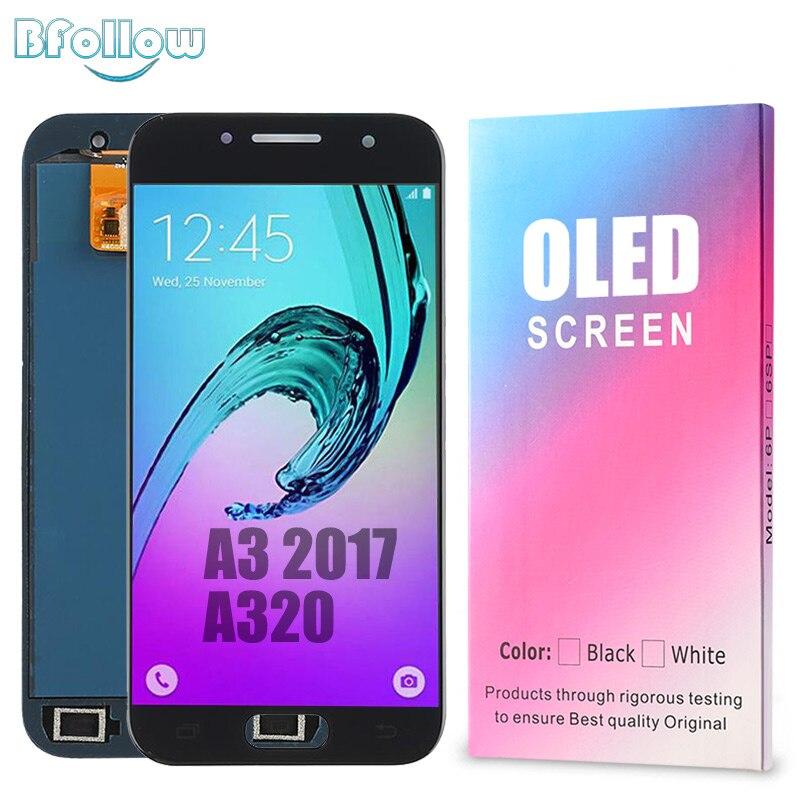 Bsuivre ORIGINAL AMOLED pour Samsung Galaxy A3 2017 A320 copie LCD écran affichage numériseur assemblée remplacement A320F