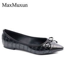 MaxMuxun Women Flats Pointed Toe Bow-Embellished Slip On Leopard Croco-Effect  Classic Ballet Shoes