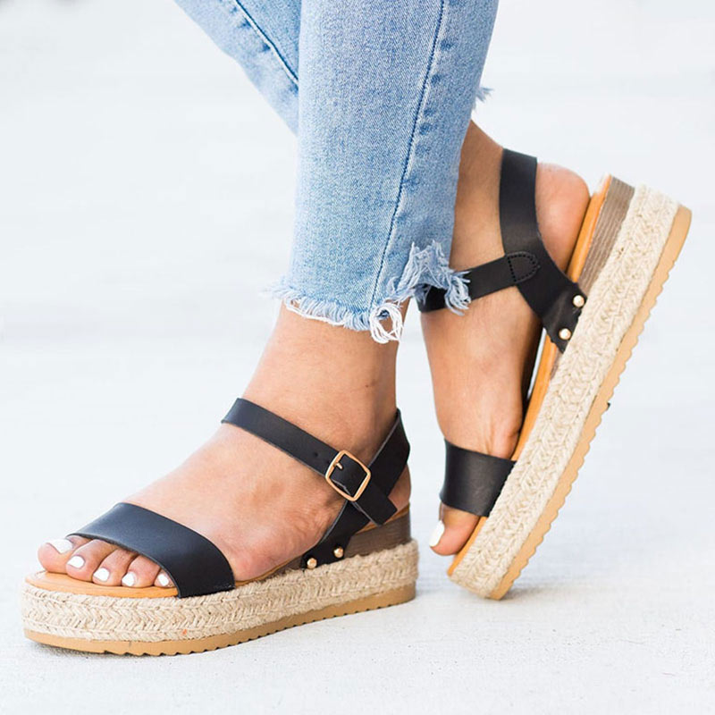 Women Sandals Shoes Espadrilles Casual Wedges Peep-Toe Platform Summer Heels Zapatos