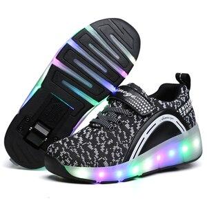Image 3 - ילדים זוהר סניקרס סניקרס עם גלגלי Led אור עד רולר גלגיליות ספורט זוהר מואר נעליים לילדים בני ורוד