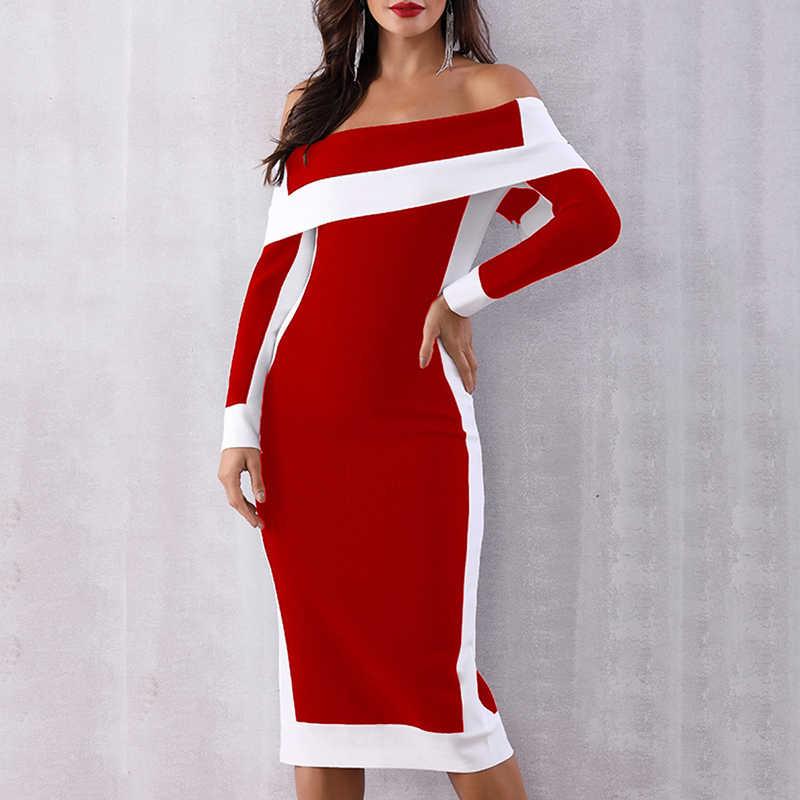 Женское платье миди с длинным рукавом и открытыми плечами Коктейльная Клубная одежда красный/черный