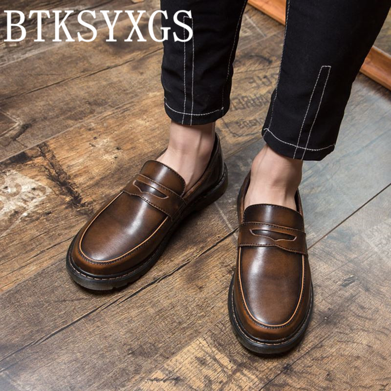 BTKSYXGS Men's shoes flats Man 100% genuine leather 2017 New Spring Autumn fashion Men casual shoes Male plus size 35-47 color 5 цены онлайн