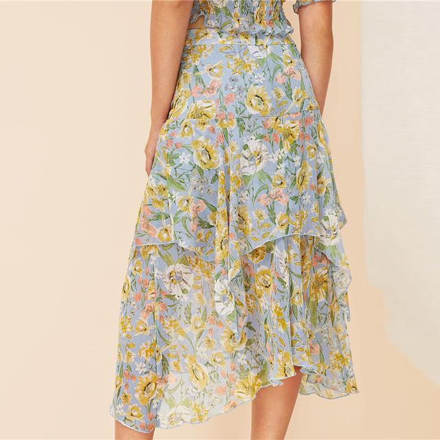 Boho-Chic Botanical Print Top & Skirt