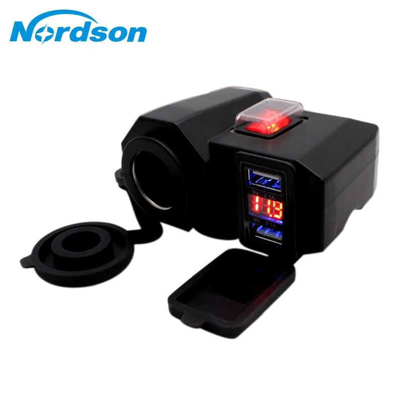Nordson Waterproof 12V Motorcycle Dual USB Charger Cigar Lighter Socket LED Voltmeter Accessories Parts for Motocross Dirt Bike