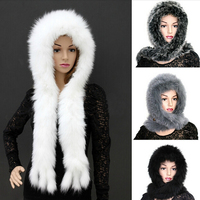 Full natural fox fur knitted hats for women winter warm bomber hat scarf one piece with fashion tassel real fur hooded scarves