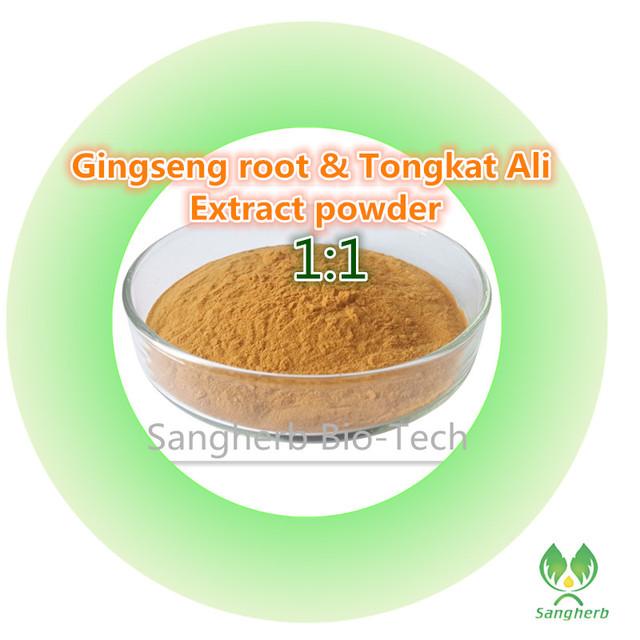 Natural extracto de raíz de Ginseng y extracto de Tongkat ali extracto en polvo 1:1 compuesto 1 kg nutritiva Aumenta la sexualidad y erecciones Fuertes