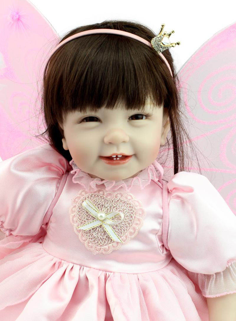 Bebes reborn 55cm silicone reborn baby dolls adorable girl princess doll with pink wing Magic wand children birthday gift dollBebes reborn 55cm silicone reborn baby dolls adorable girl princess doll with pink wing Magic wand children birthday gift doll