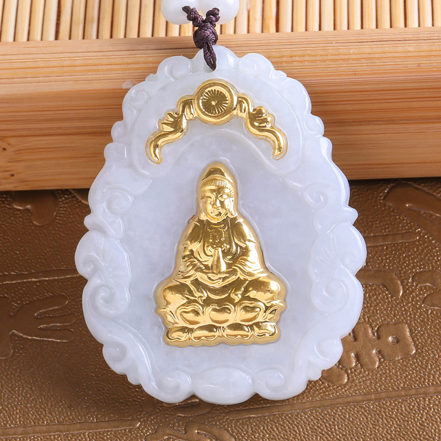 Fine Jewelry Unique Natural Hetian Jade Pendant Sitting on the Lotus Guanyin Bodhisattva Free Shipping 8647