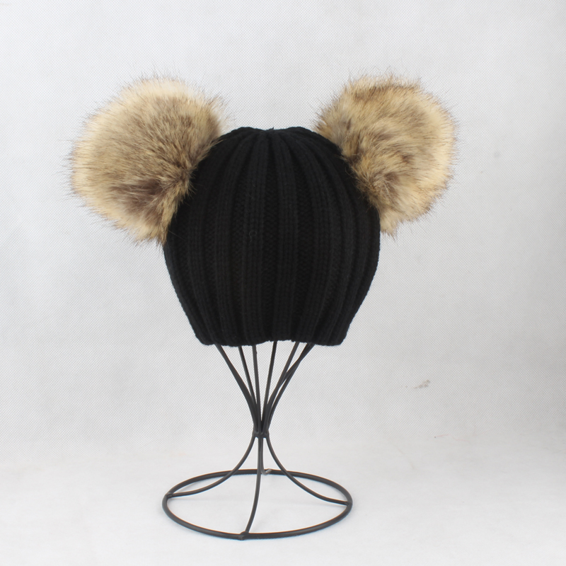 e36fc5dcfe114 2019 Cute Black Hat For Girls Boys Faux Fur Hat Pom Pom Ball Beanie ...